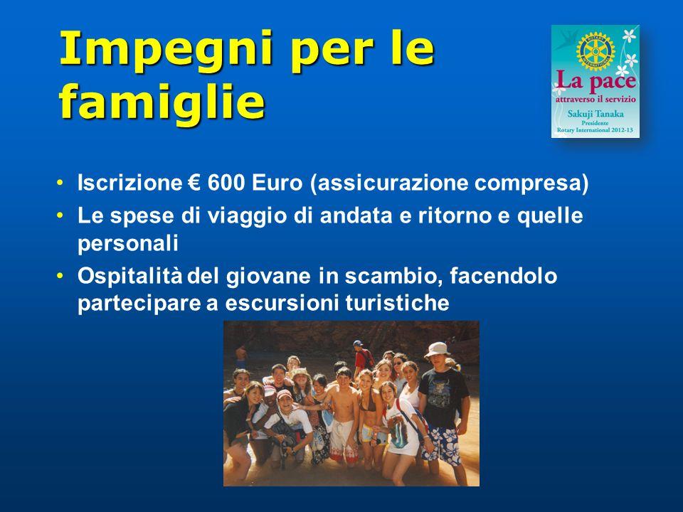 Impegni per le famiglie Iscrizione 600 Euro (assicurazione compresa) Le spese di viaggio di andata e ritorno e quelle personali Ospitalità del giovane