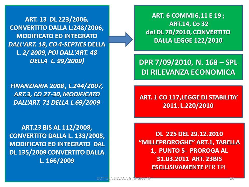 ART. 13 DL 223/2006, CONVERTITO DALLA L:248/2006, MODIFICATO ED INTEGRATO DALL'ART. 18, CO 4-SEPTIES DELLA L. 2/ 2009, POI DALL'ART. 48 DELLA L. 99/20