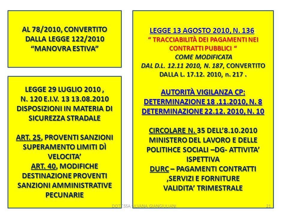 AL 78/2010, CONVERTITO DALLA LEGGE 122/2010 MANOVRA ESTIVA LEGGE 13 AGOSTO 2010, N. 136 LEGGE 13 AGOSTO 2010, N. 136 : TRACCIABILITÀ DEI PAGAMENTI NEI