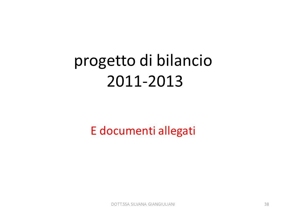 progetto di bilancio 2011-2013 E documenti allegati 38DOTT.SSA SILVANA GIANGIULIANI