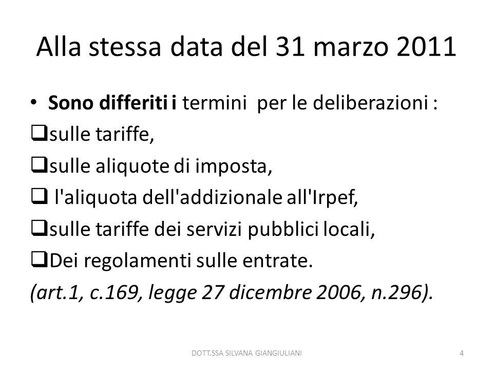 Alla stessa data del 31 marzo 2011 Sono differiti i termini per le deliberazioni : sulle tariffe, sulle aliquote di imposta, l'aliquota dell'addiziona