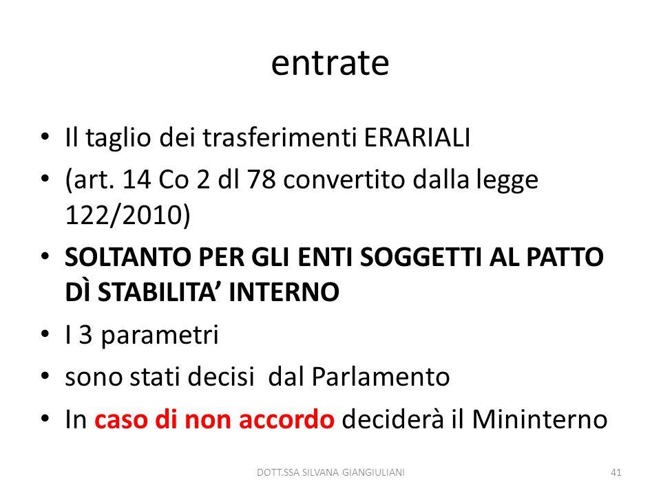 entrate Il taglio dei trasferimenti ERARIALI (art. 14 Co 2 dl 78 convertito dalla legge 122/2010) SOLTANTO PER GLI ENTI SOGGETTI AL PATTO DÌ STABILITA