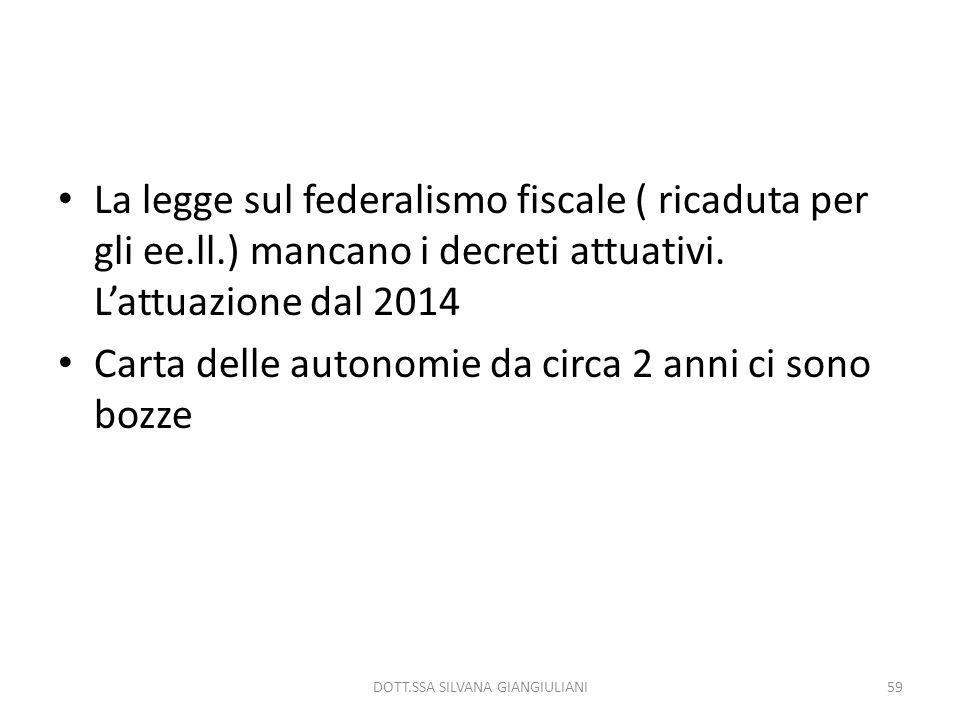 La legge sul federalismo fiscale ( ricaduta per gli ee.ll.) mancano i decreti attuativi. Lattuazione dal 2014 Carta delle autonomie da circa 2 anni ci