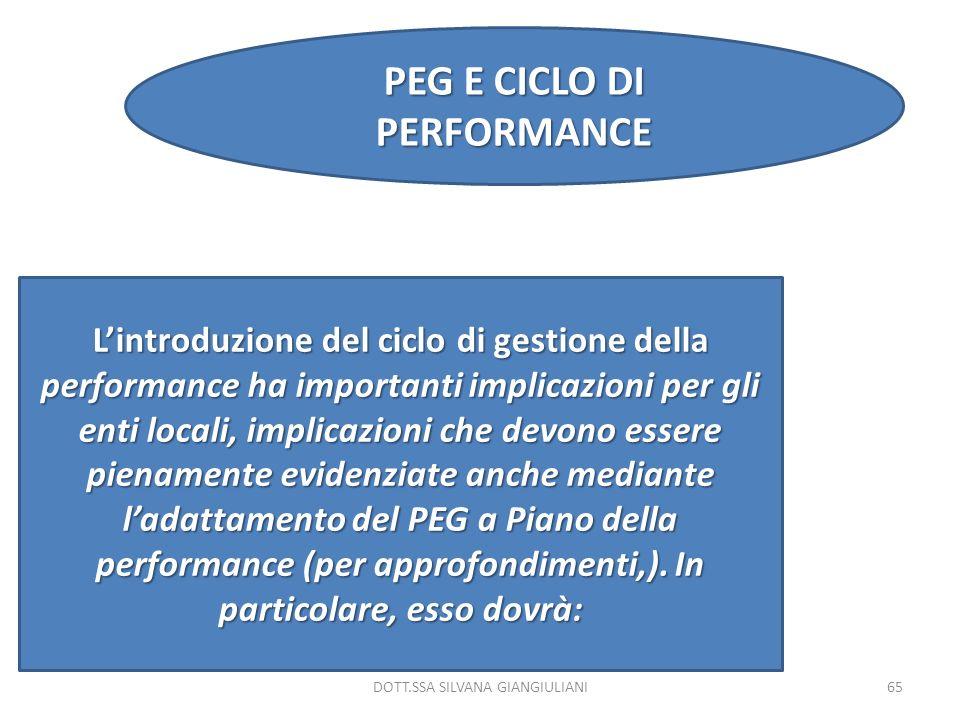 DOTT.SSA SILVANA GIANGIULIANI65 PEG E CICLO DI PERFORMANCE Lintroduzione del ciclo di gestione della performance ha importanti implicazioni per gli en