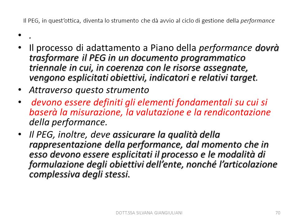 Il PEG, in questottica, diventa lo strumento che dà avvio al ciclo di gestione della performance. dovrà trasformare il PEG in un documento programmati