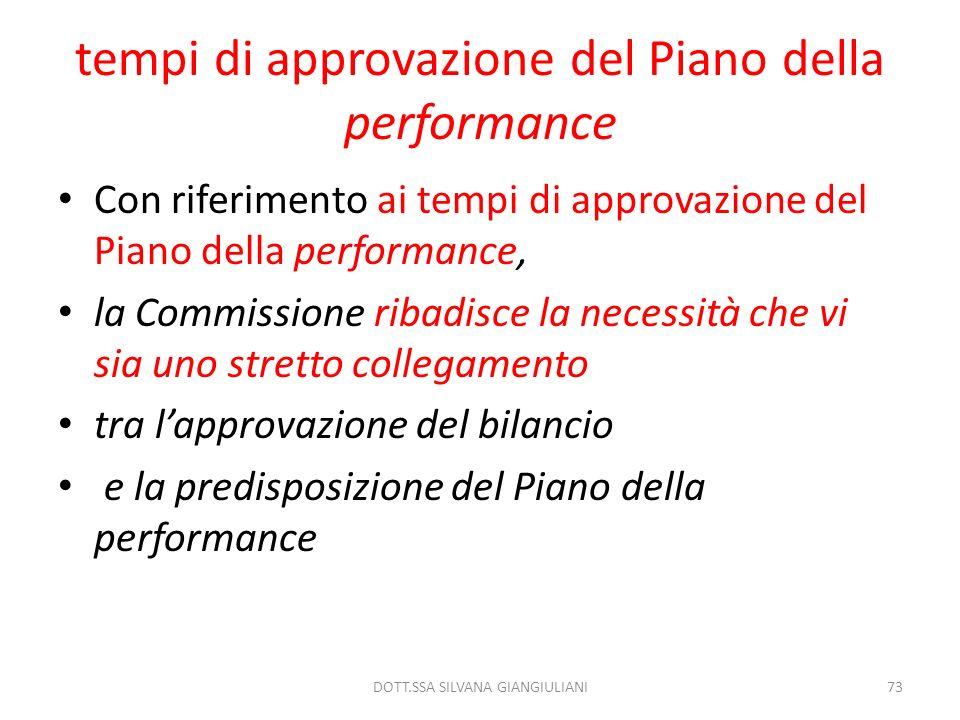 tempi di approvazione del Piano della performance Con riferimento ai tempi di approvazione del Piano della performance, la Commissione ribadisce la ne