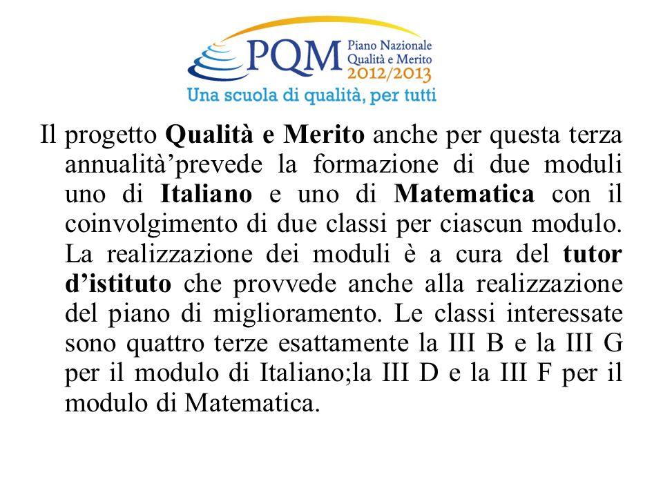 Il progetto Qualità e Merito anche per questa terza annualitàprevede la formazione di due moduli uno di Italiano e uno di Matematica con il coinvolgim