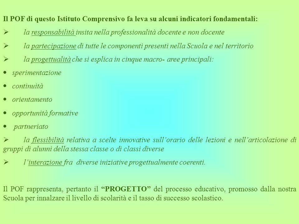 Il POF di questo Istituto Comprensivo fa leva su alcuni indicatori fondamentali: la responsabilità insita nella professionalità docente e non docente