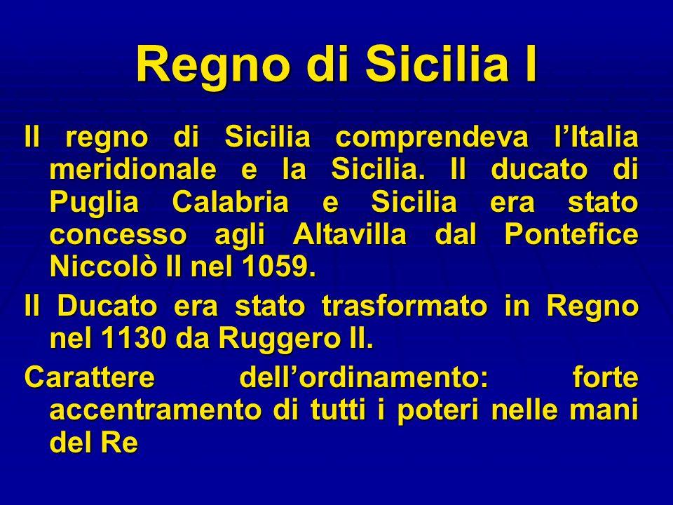 Regno di Sicilia I Il regno di Sicilia comprendeva lItalia meridionale e la Sicilia. Il ducato di Puglia Calabria e Sicilia era stato concesso agli Al