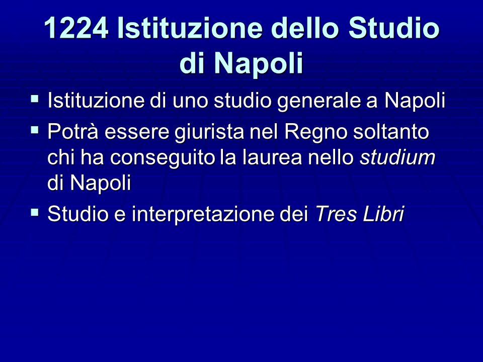 1224 Istituzione dello Studio di Napoli Istituzione di uno studio generale a Napoli Istituzione di uno studio generale a Napoli Potrà essere giurista