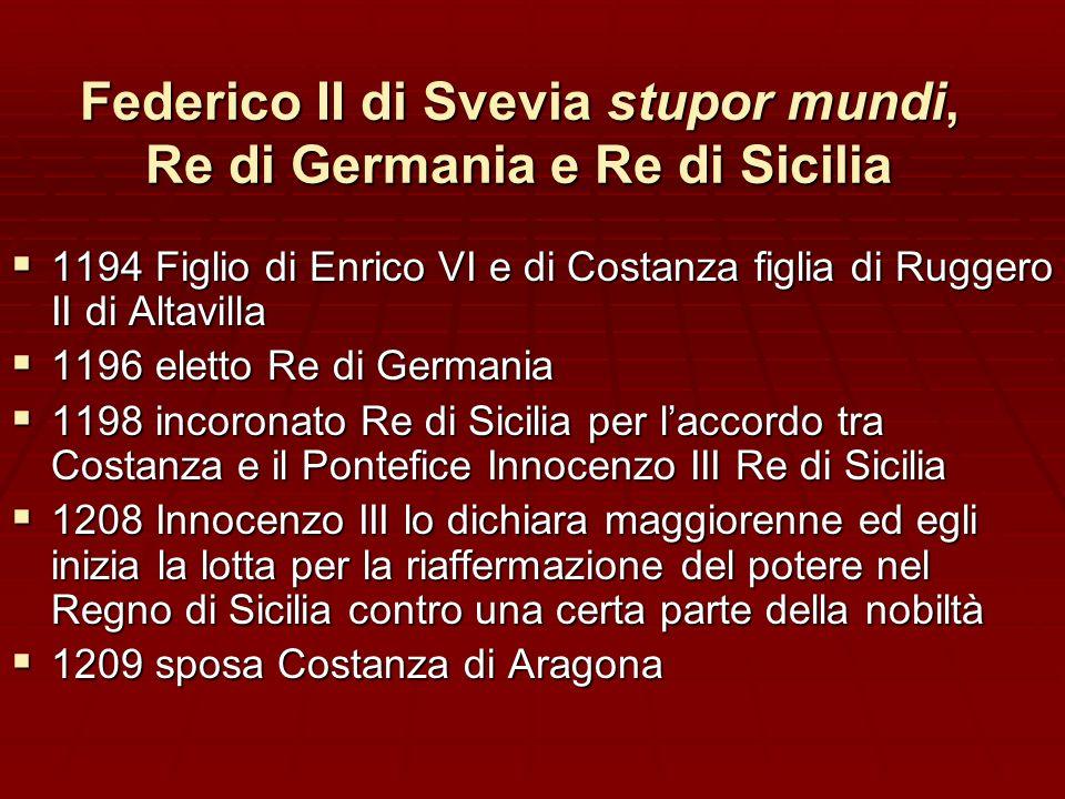 Federico II di Svevia stupor mundi, Re di Germania e Re di Sicilia 1194 Figlio di Enrico VI e di Costanza figlia di Ruggero II di Altavilla 1194 Figli