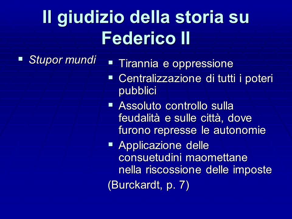 Il giudizio della storia su Federico II Stupor mundi Stupor mundi Tirannia e oppressione Tirannia e oppressione Centralizzazione di tutti i poteri pub
