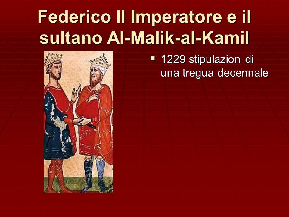 Federico II di Svevia, i Pontefici e i Musulmani Nel 1215 ad Aquisgrana si impegna a farsi crociato e a liberare i Luoghi Santi dagli Infedeli Nel 1215 ad Aquisgrana si impegna a farsi crociato e a liberare i Luoghi Santi dagli Infedeli Innocenzo III e Onorio III lo sollecitano a adempiere al voto e a combattere in Egitto contro il sultano Al-Malik-al Kamil, ma Federico rinvia, perché i nobili tedeschi che avevano promesso di aiutarlo si ritirano.