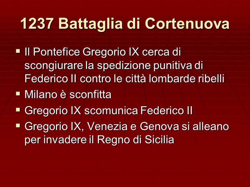1237 Battaglia di Cortenuova Il Pontefice Gregorio IX cerca di scongiurare la spedizione punitiva di Federico II contro le città lombarde ribelli Il P