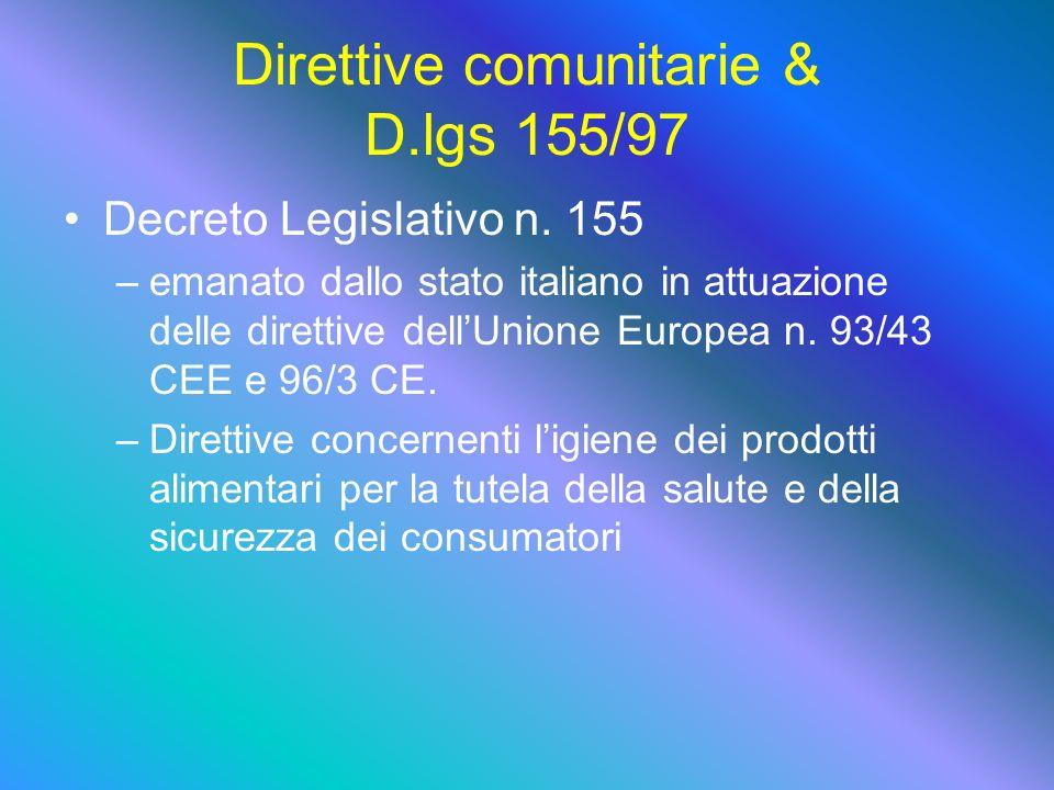 Direttive comunitarie & D.lgs 155/97 Decreto Legislativo n.