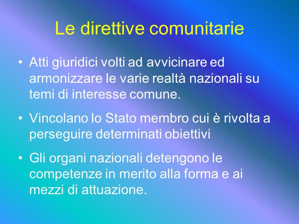 Le direttive comunitarie Atti giuridici volti ad avvicinare ed armonizzare le varie realtà nazionali su temi di interesse comune.