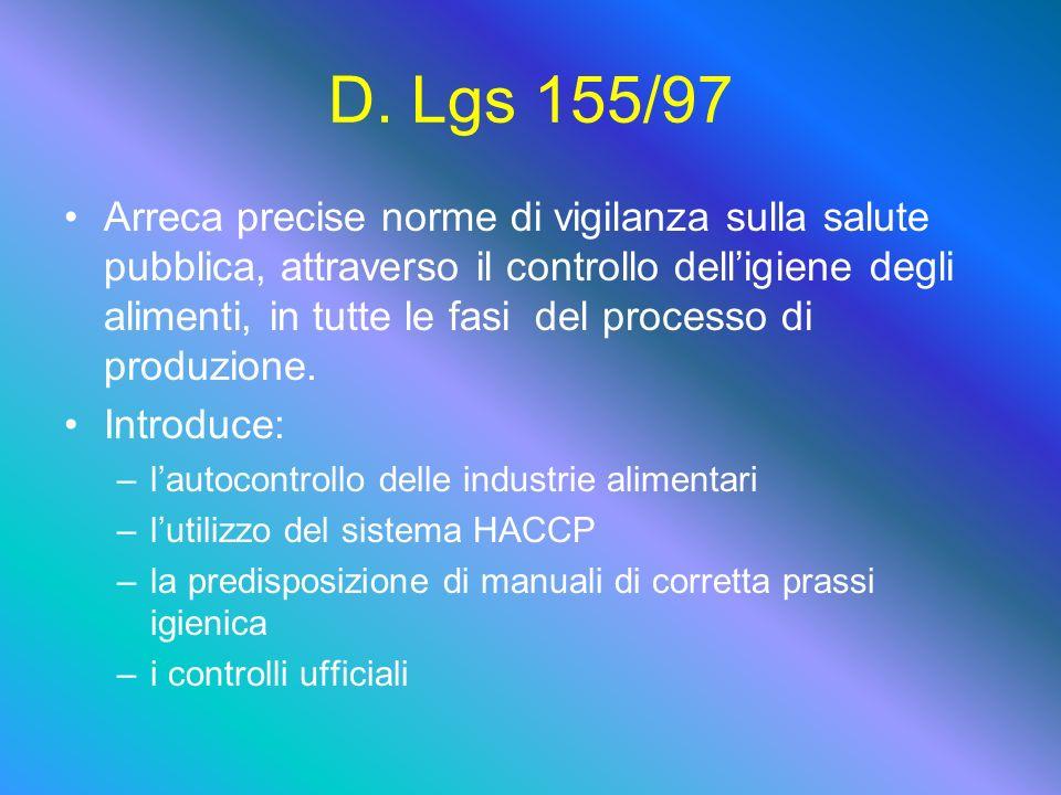 D. Lgs 155/97 Arreca precise norme di vigilanza sulla salute pubblica, attraverso il controllo delligiene degli alimenti, in tutte le fasi del process
