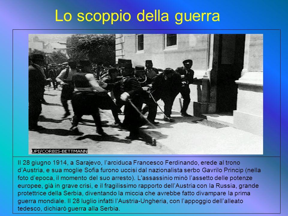 Il 28 giugno 1914, a Sarajevo, larciduca Francesco Ferdinando, erede al trono dAustria, e sua moglie Sofia furono uccisi dal nazionalista serbo Gavrilo Princip (nella foto depoca, il momento del suo arresto).