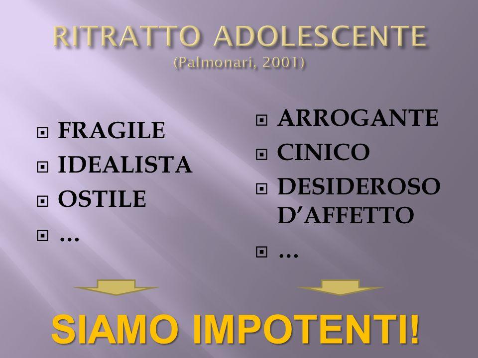 FRAGILE IDEALISTA OSTILE … ARROGANTE CINICO DESIDEROSO DAFFETTO … SIAMO IMPOTENTI!