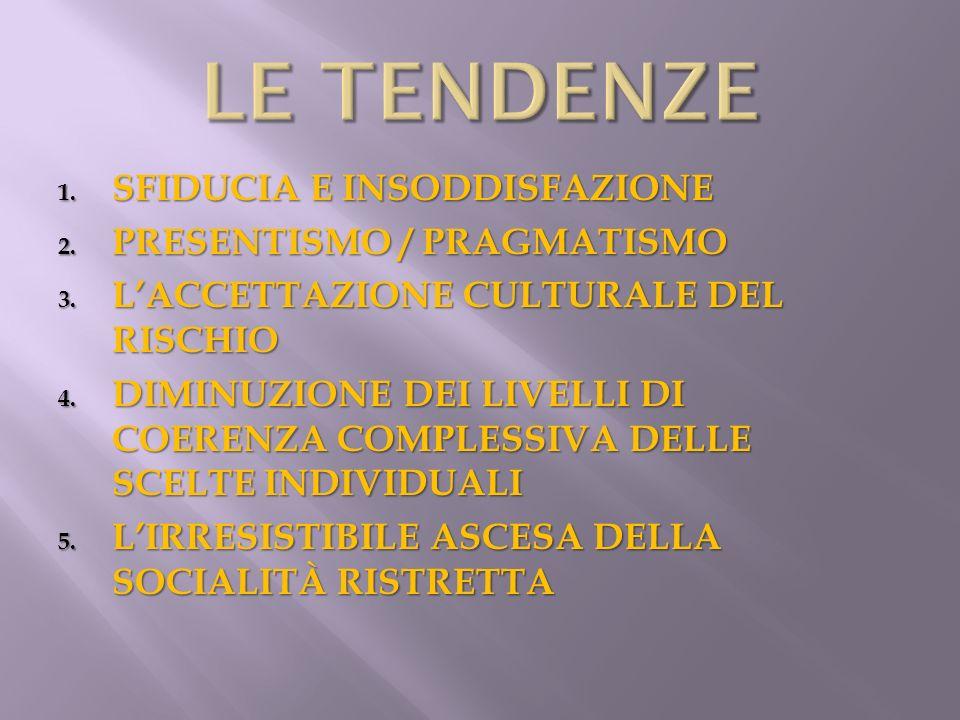 1. SFIDUCIA E INSODDISFAZIONE 2. PRESENTISMO / PRAGMATISMO 3. LACCETTAZIONE CULTURALE DEL RISCHIO 4. DIMINUZIONE DEI LIVELLI DI COERENZA COMPLESSIVA D