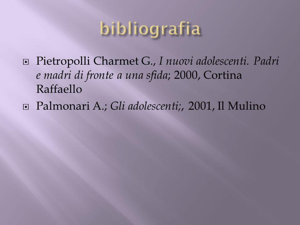 Pietropolli Charmet G., I nuovi adolescenti. Padri e madri di fronte a una sfida ; 2000, Cortina Raffaello Palmonari A.; Gli adolescenti;, 2001, Il Mu