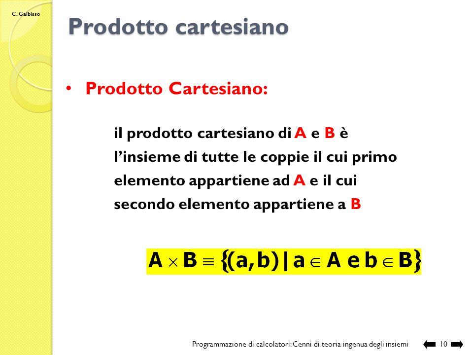 C. Gaibisso Sottinsieme Programmazione di calcolatori: Cenni di teoria ingenua degli insiemi9 Sottinsieme: A è un sottoinsieme di B se e solo se ogni