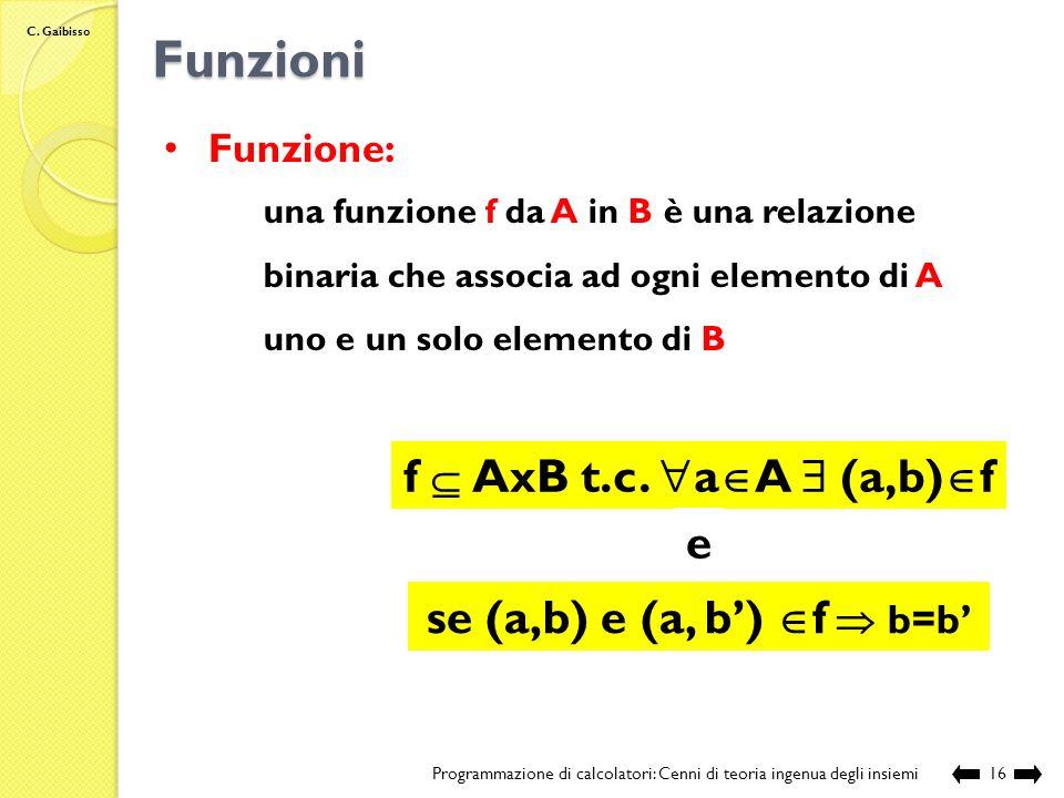 C. Gaibisso Relazioni binarie Programmazione di calcolatori: Cenni di teoria ingenua degli insiemi15 Esempio: