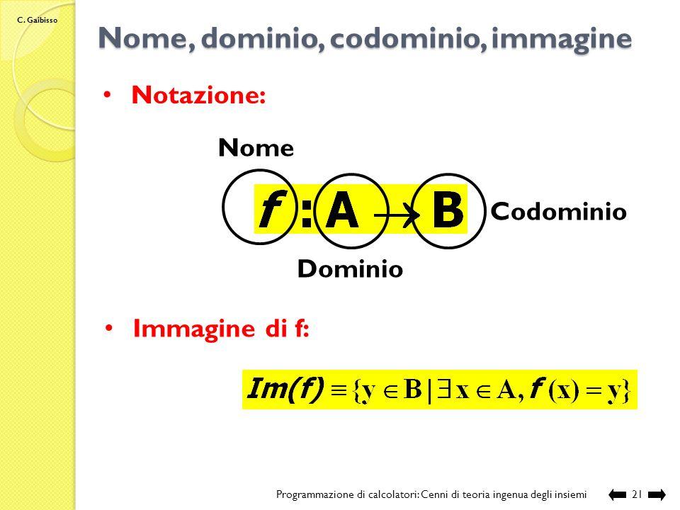 C. Gaibisso Funzioni Programmazione di calcolatori: Cenni di teoria ingenua degli insiemi20 E una funzione? NO
