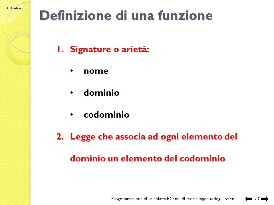 C. Gaibisso Nome, dominio, codominio, immagine Programmazione di calcolatori: Cenni di teoria ingenua degli insiemi22 (1, I) (1, II) (1, III) (1, IV)