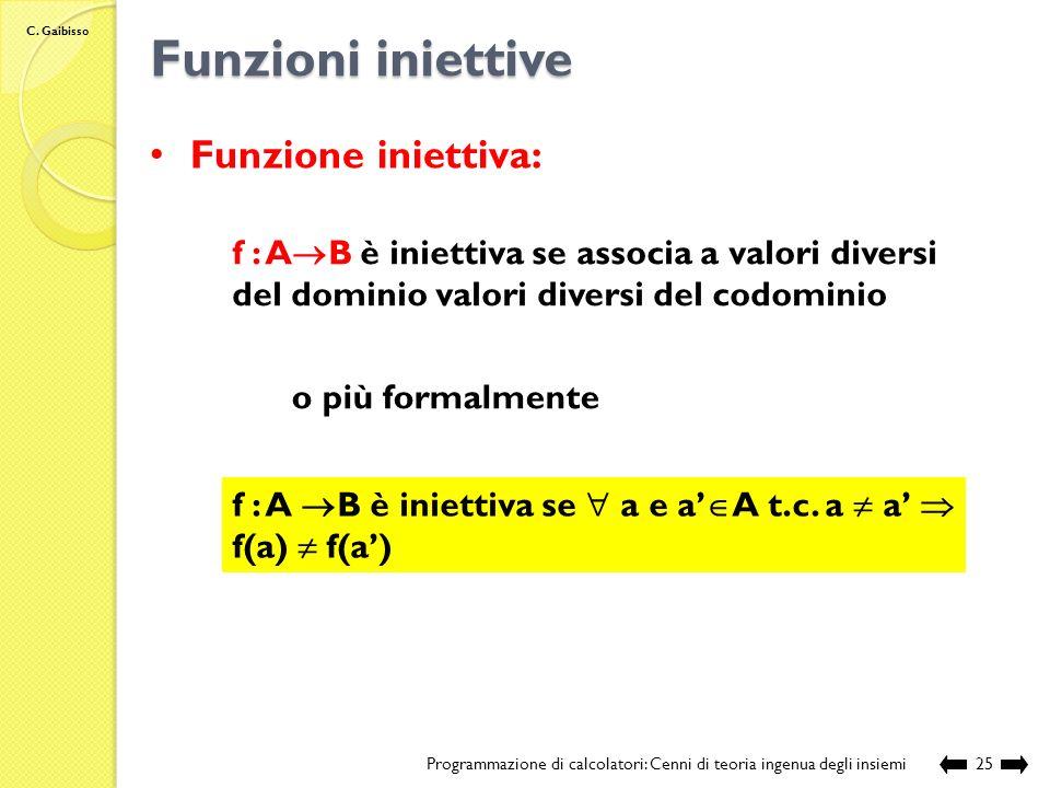 C. Gaibisso Definizione di una funzione Programmazione di calcolatori: Cenni di teoria ingenua degli insiemi24 1.Signature o arietà: Nome:quadrato Dom