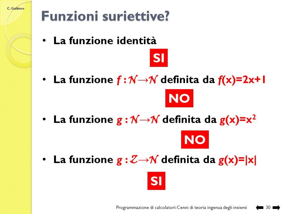 C.Gaibisso Funzioni suriettive.