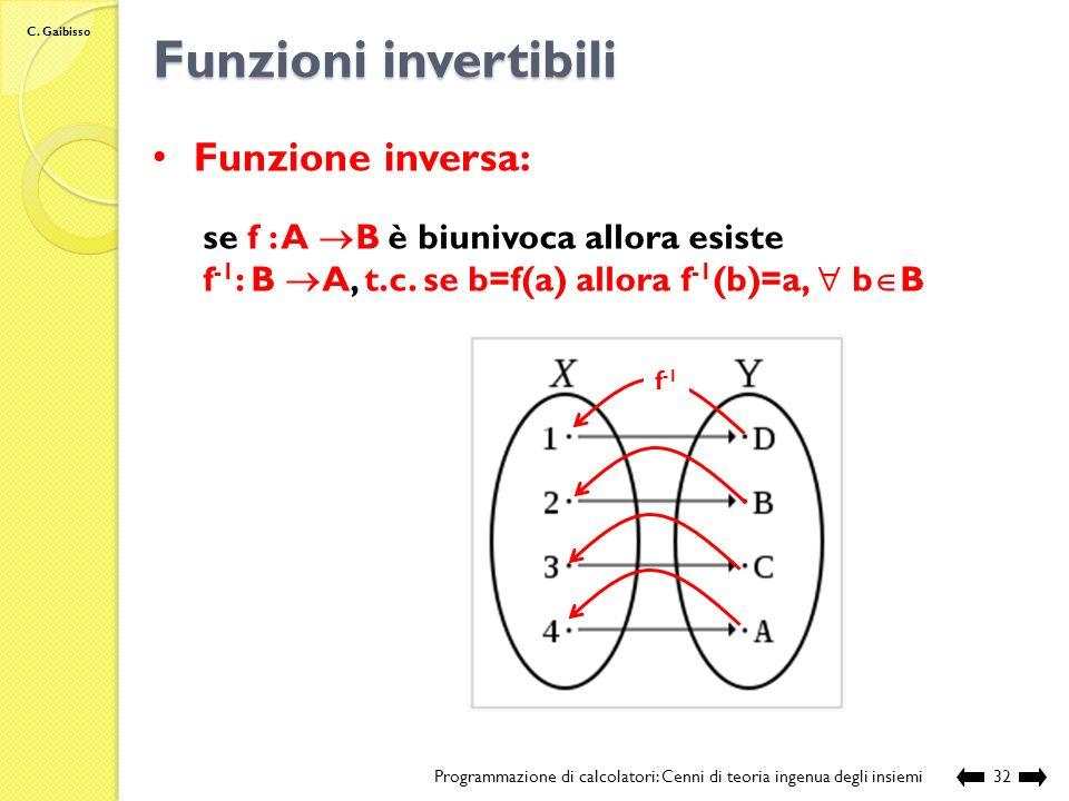 C. Gaibisso Funzioni biunivoche Programmazione di calcolatori: Cenni di teoria ingenua degli insiemi31 Funzione biunivoca: f : A B è biunivoca se e so