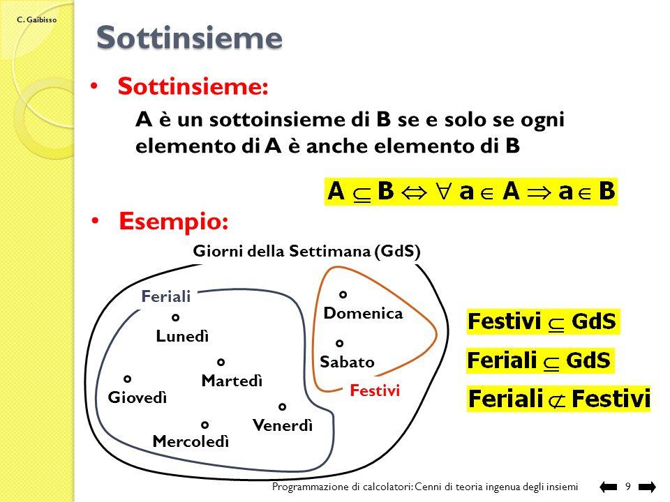 C. Gaibisso Intensionale vs Estensionale Programmazione di calcolatori: Cenni di teoria ingenua degli insiemi8
