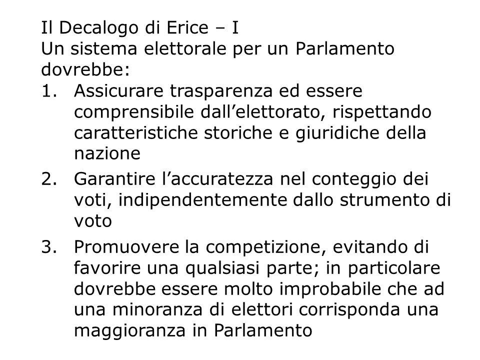Il Decalogo di Erice – I Un sistema elettorale per un Parlamento dovrebbe: 1.Assicurare trasparenza ed essere comprensibile dallelettorato, rispettand