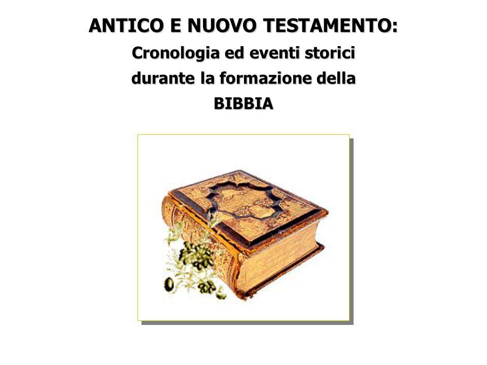 ANTICO E NUOVO TESTAMENTO: Cronologia ed eventi storici durante la formazione della BIBBIA