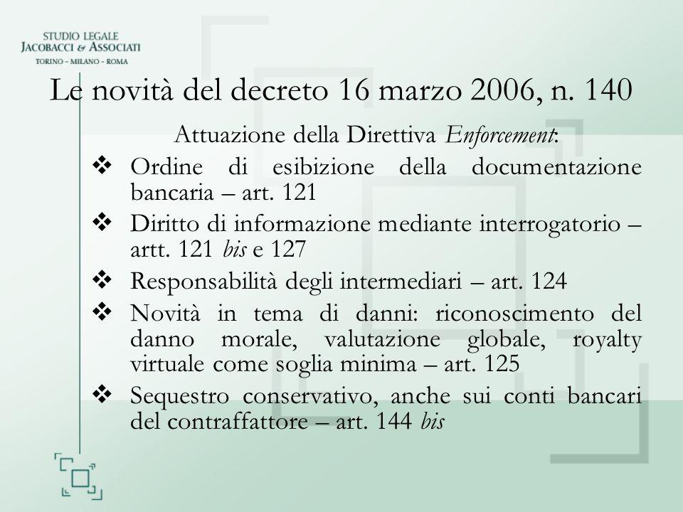 Le novità del decreto 16 marzo 2006, n. 140 Attuazione della Direttiva Enforcement: Ordine di esibizione della documentazione bancaria – art. 121 Diri