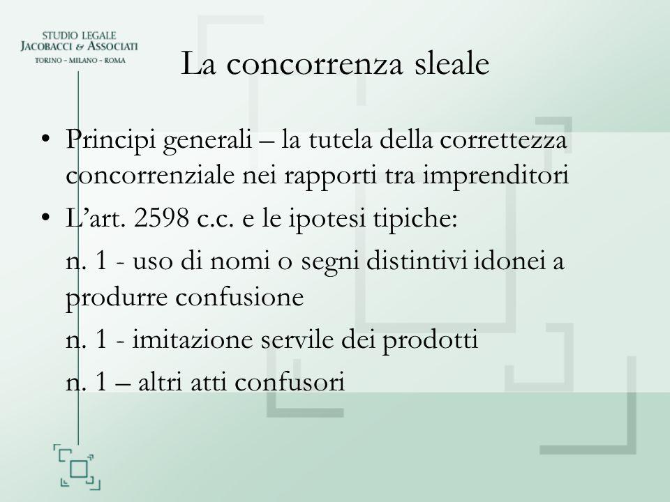 La concorrenza sleale Principi generali – la tutela della correttezza concorrenziale nei rapporti tra imprenditori Lart. 2598 c.c. e le ipotesi tipich