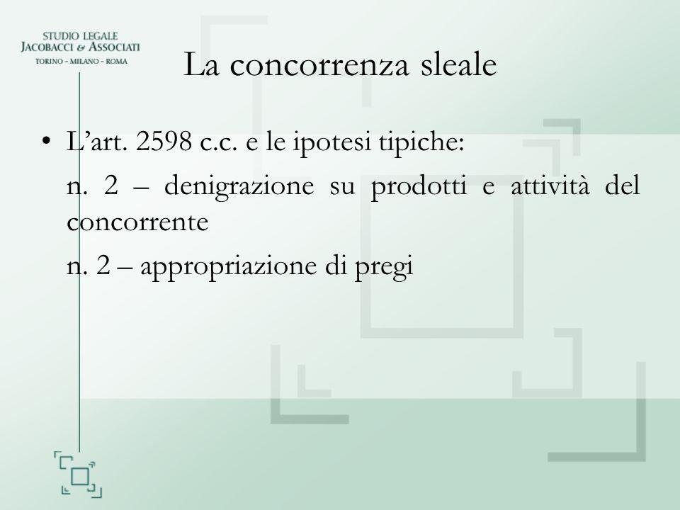 La concorrenza sleale Lart. 2598 c.c. e le ipotesi tipiche: n. 2 – denigrazione su prodotti e attività del concorrente n. 2 – appropriazione di pregi