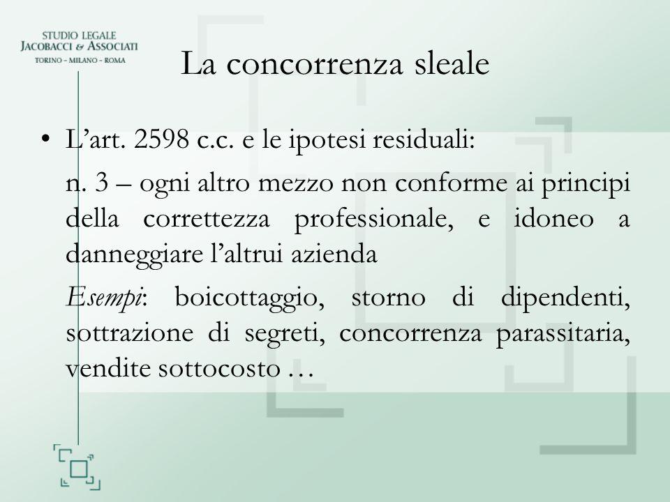 La concorrenza sleale Lart. 2598 c.c. e le ipotesi residuali: n. 3 – ogni altro mezzo non conforme ai principi della correttezza professionale, e idon