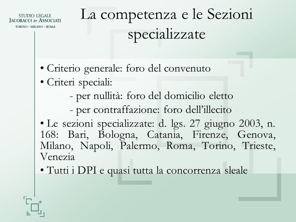 La competenza e le Sezioni specializzate Criterio generale: foro del convenuto Criteri speciali: - per nullità: foro del domicilio eletto - per contra