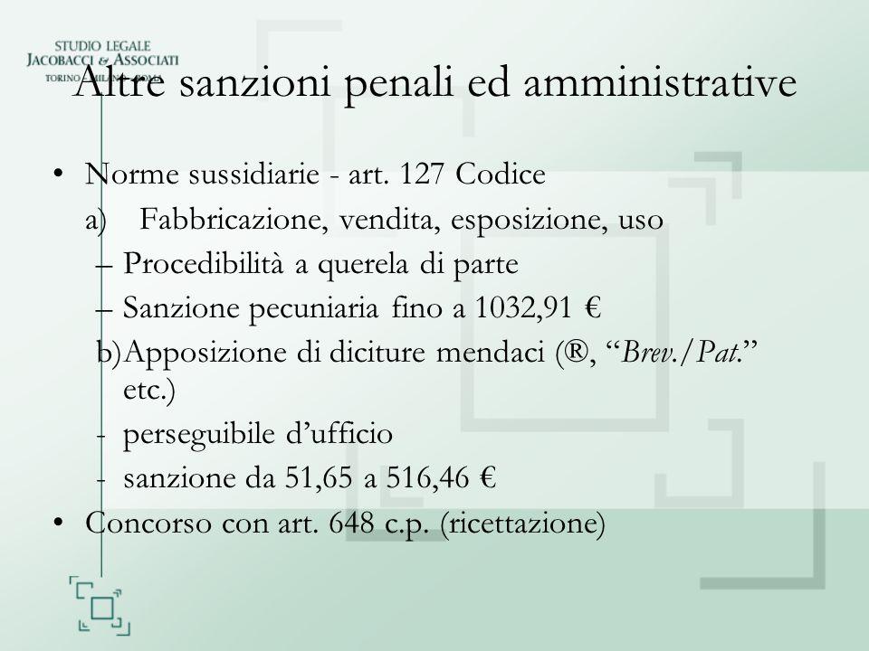 Altre sanzioni penali ed amministrative Norme sussidiarie - art. 127 Codice a)Fabbricazione, vendita, esposizione, uso –Procedibilità a querela di par