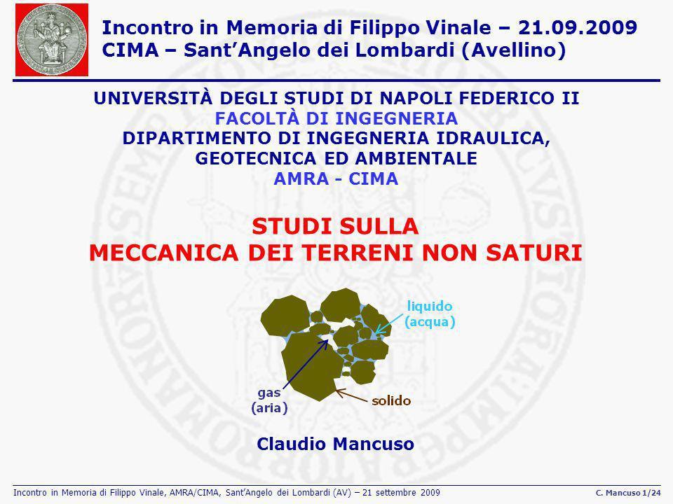 Incontro in Memoria di Filippo Vinale, AMRA/CIMA, SantAngelo dei Lombardi (AV) – 21 settembre 2009 C. Mancuso 1/24 STUDI SULLA MECCANICA DEI TERRENI N