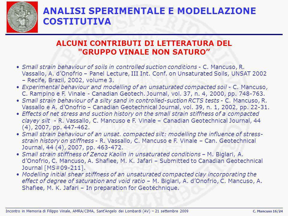 Incontro in Memoria di Filippo Vinale, AMRA/CIMA, SantAngelo dei Lombardi (AV) – 21 settembre 2009 C. Mancuso 16/24 Small strain behaviour of soils in