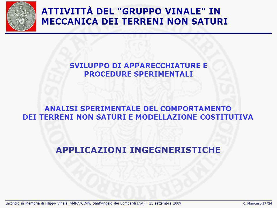 Incontro in Memoria di Filippo Vinale, AMRA/CIMA, SantAngelo dei Lombardi (AV) – 21 settembre 2009 C. Mancuso 17/24 SVILUPPO DI APPARECCHIATURE E PROC