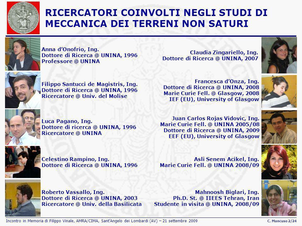 Incontro in Memoria di Filippo Vinale, AMRA/CIMA, SantAngelo dei Lombardi (AV) – 21 settembre 2009 C. Mancuso 2/24 RICERCATORI COINVOLTI NEGLI STUDI D