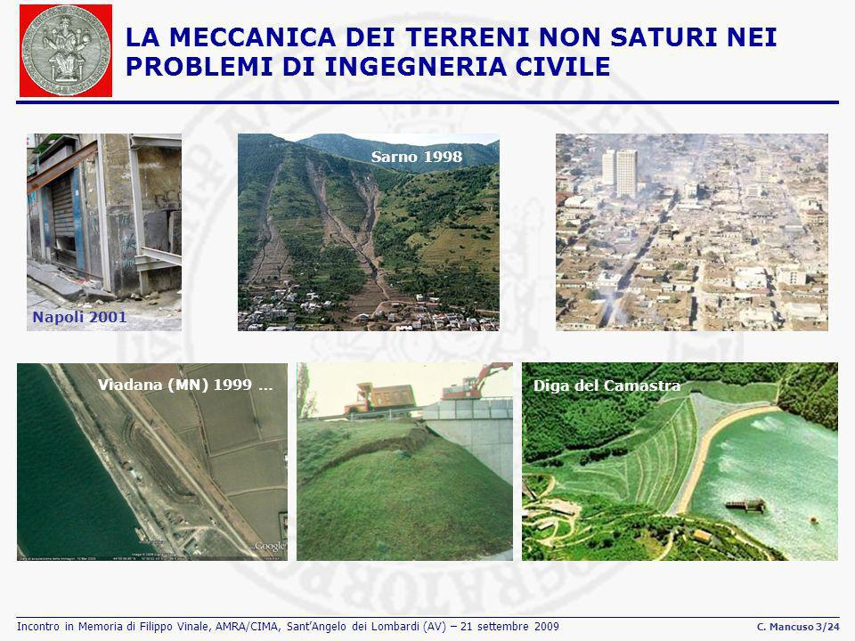 Incontro in Memoria di Filippo Vinale, AMRA/CIMA, SantAngelo dei Lombardi (AV) – 21 settembre 2009 C. Mancuso 3/24 LA MECCANICA DEI TERRENI NON SATURI