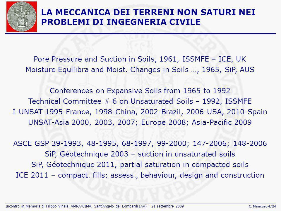 Incontro in Memoria di Filippo Vinale, AMRA/CIMA, SantAngelo dei Lombardi (AV) – 21 settembre 2009 C. Mancuso 4/24 Pore Pressure and Suction in Soils,