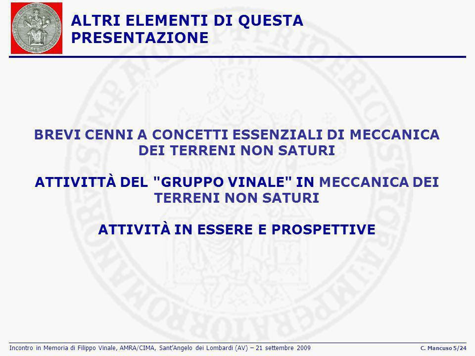 Incontro in Memoria di Filippo Vinale, AMRA/CIMA, SantAngelo dei Lombardi (AV) – 21 settembre 2009 C. Mancuso 5/24 ALTRI ELEMENTI DI QUESTA PRESENTAZI