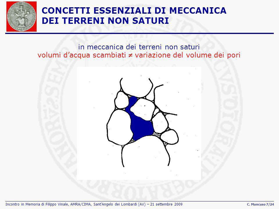 Incontro in Memoria di Filippo Vinale, AMRA/CIMA, SantAngelo dei Lombardi (AV) – 21 settembre 2009 C. Mancuso 7/24 in meccanica dei terreni non saturi