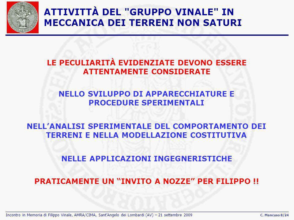 Incontro in Memoria di Filippo Vinale, AMRA/CIMA, SantAngelo dei Lombardi (AV) – 21 settembre 2009 C. Mancuso 8/24 ATTIVITTÀ DEL